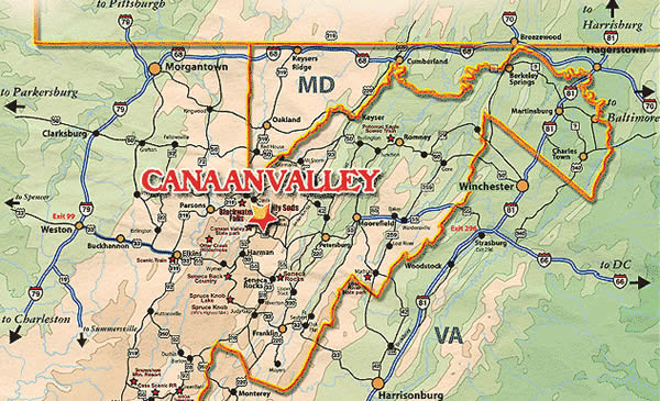 The Potomac Highlands and Canan Valley regions. Thanks to Whitegrass for this map.