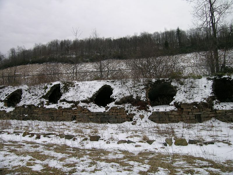 Coke oven ruins along the old rail grade outside Thomas. At the turn of the century, Thomas was the site of 9 coal mines feeding 1000 coke ovens that produced coke for industrial production in places like Pittsburg and Cumberland, MD.