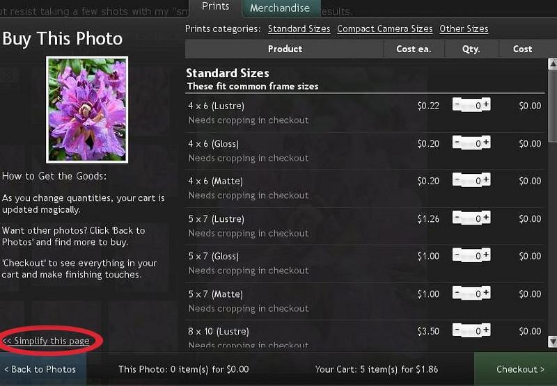 """<p>Dies ist der Auswahlschirm, wo Bildgrößen und -arten ausgewählt werden können und die Preise in Übersicht angezeigt werden.</p>  <p>Mit """"<code>"""