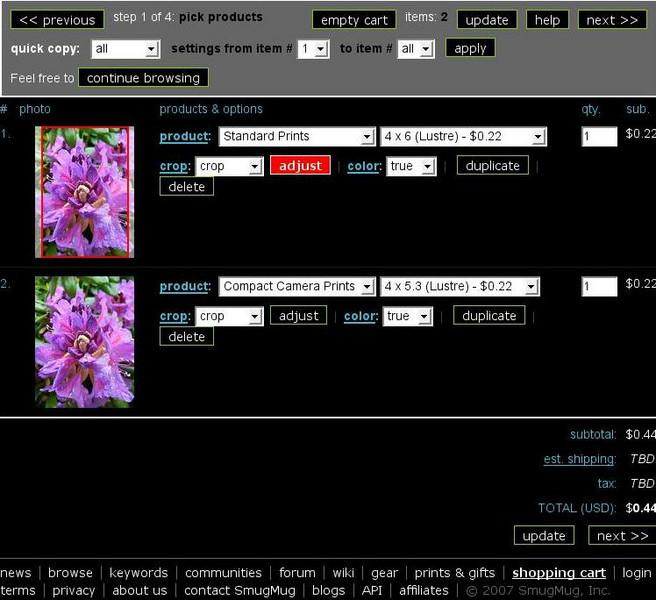 """<p>Nachdem die Photos ausgewählt sind, kommt der 1. Schritt des Bestellvorganges.  Hier kann man: <ul> <li>Zu jedem verfügbaren Produkt wechseln (via <font color=""""#65cecf"""">product: ...</font>).  Damit kann man auch durchprobieren, ob es ein ähnlich teueres Format mit weniger Beschnitt gibt.</li> <li>Die Anzahl der Abzüge ändern.</li> <li>Von <code>crop</code> (randlos, aber beschnitten) auf <code>no-crop</code> (nicht beschnitten, dafür geg. mit weissem Rand) wechseln.<br />  Ich empfehle <code>no-crop</code>.</li> <li>Den Beschnitt mit <font color=""""red""""><code>adjust</code></font> einstellen.</li> <li>Die Bildverbesserung einschalten (<code><font color=""""#65cecf"""">color:</font> auto</code>).<br /> Da meine Bilder bereits korrigiert sind, empfehle ich sehr, <code><font color=""""#65cecf"""">color:</font></code> auf """"<code>true</code>"""" stehen zu lassen.</li> <li>den Bildeintrag mit <code>duplicate</code> verdoppen.<br /> Damit kann ein und dasselbe Bild sehr einfach z.B. <ul>     <li>1 x als <code>4x6 Lustre</code> und</li>     <li>3 x als <code>4x5 Gloss</code> und</li>     <li>1 x als <code>16x20 Mounted Canvas</code> (40x50cm Leinwand, schon     auf den Rahmen gezogen) bestellt werden.</li></ul> </li> <li>Schliesslich kann ein Eintrag natürlich auch mit <code>delete</code> gelöscht werden.</li> </ul> </p>  <p> Zudem wird der Einzelpreis jedes Eintrags angezeigt, und der Endbetrag ohne ohne Porto und Verpackung. <br /> Wenn Schritt 2 (Rechnungs- und Lieferadresse) und Schritt 3 (Versandart) bereits durchgeführt wurden (man kann jederzeit zurückwechseln), werden auch die Lieferkosten angezeigt und dynamisch angepasst. </p>"""