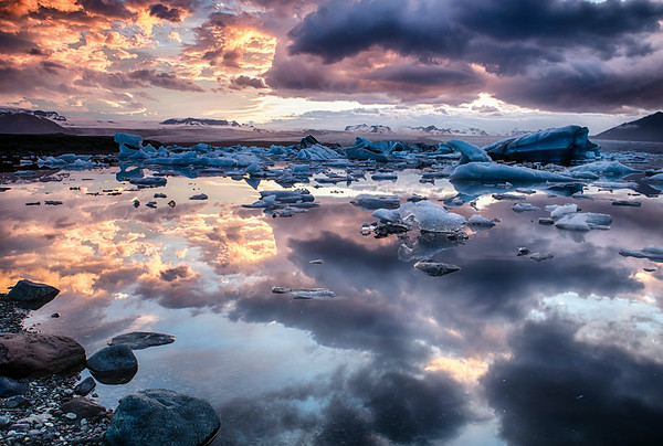 The Glacial Lagoon on Fire
