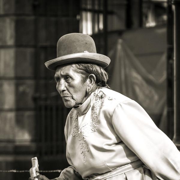 Old Peruvian Woman with Pork Pie Hat