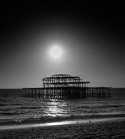 Old Brighton Pier- mono
