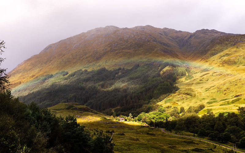 Rainbow Over Cottage