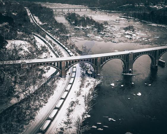 Train Bridge snow day