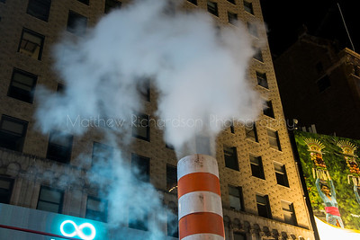 Steam venting on 7th Ave near Times Square, New York City, USA
