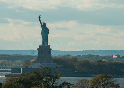 Statue of Liberty seen from the deck of an ocean liner at Brooklyn cruise terminal New York City, USA