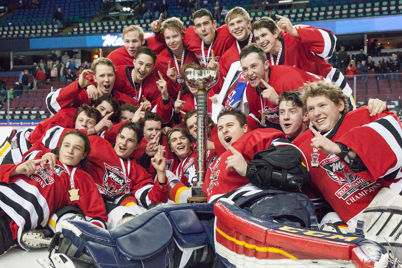 "Mac's AAA Midget Tournament Male Division Finals. The NW Midget AAA Flames (Calgary, AB) won the male division final over the Lloydminster Bandit Pipeline Bobcats (Lloydminster, AB/SK). January 1, 2016.  <a href=""http://www.laine.ca"">http://www.laine.ca</a>"