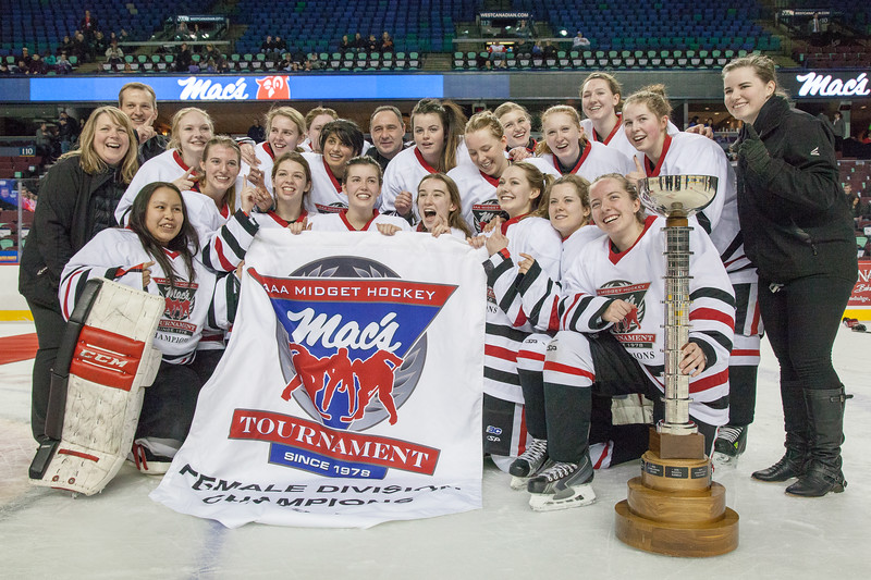 """Mac's AAA Midget Tournament Female Division Finals. The Northern Capitals (Prince George, BC) won the female division final over the Rocky Mountain Raiders (Okotoks, AB). January 1, 2016.  <a href=""""http://www.laine.ca"""">http://www.laine.ca</a>"""