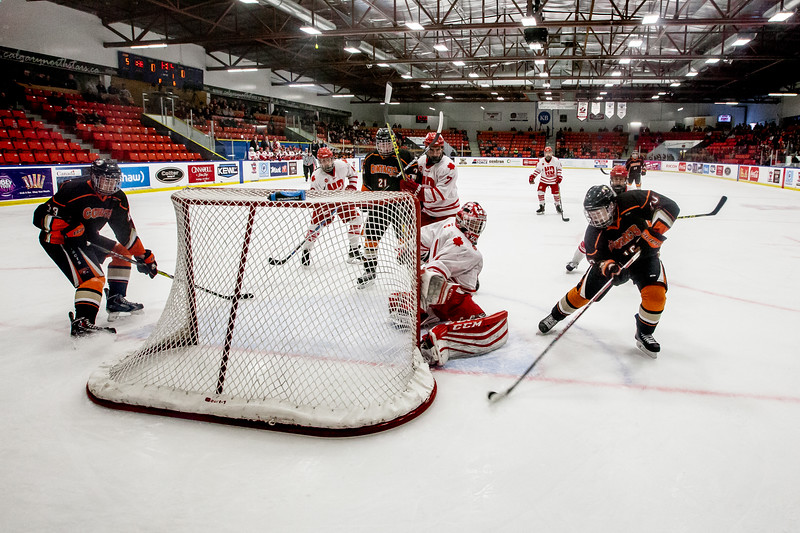 """CALGARY(AB) December 31, 2016 - The Saskatoon Contacts (Saskatoon, SK) met the Notre Dame Hounds (Wilcox, SK) in a Male Division Quarter Final of the Mac's AAA Midget Hockey Tournament at the Max Bell Centre in Calgary, AB. The Contacts won the game with 1-0 shutout win. (C) Laine Schuck /  <a href=""""http://www.laine.ca"""">http://www.laine.ca</a>"""