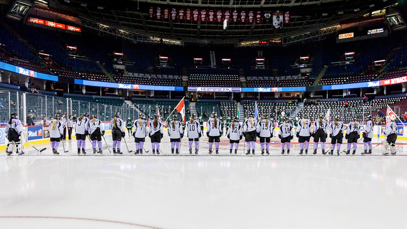 """CALGARY (AB) January 1, 2017 - The Rocky Mountain Raiders (Okotoks, AB) and the Saskatoon Stars (Saskatoon, SK) met in the Female Division Final of the Mac's AAA Midget Hockey Tournament at the Scotiabank Saddledome in Calgary, AB. The Rocky Mountain Raiders won the Mac's World Invitational Championship with a final score of 5-4. (C) Laine Schuck /  <a href=""""http://www.laine.ca"""">http://www.laine.ca</a>"""