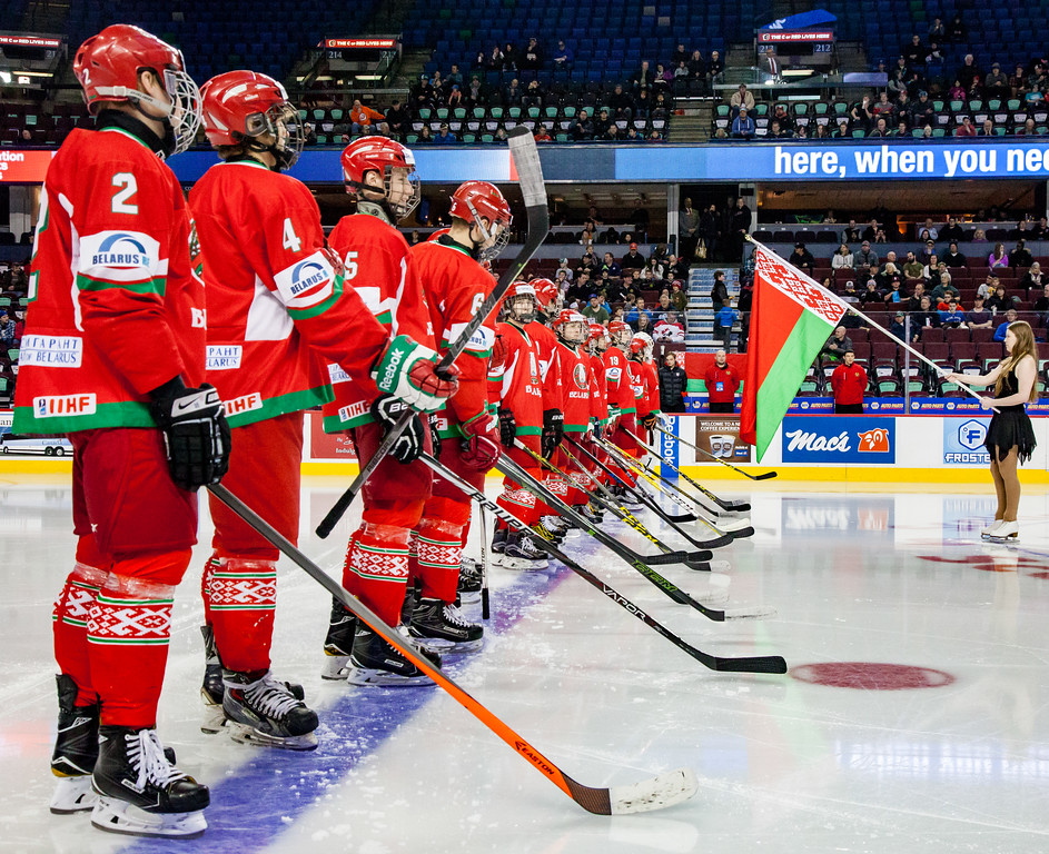 """CALGARY(AB) January 1, 2017 - The Belarus National U17 Team and the Saskatoon Contacts (Saskatoon, SK) met in the Male Division Final of the Mac's AAA Midget Hockey Tournament at the Scotiabank Saddledome in Calgary, AB. Belarus would win the Mac's World Invitational Championship with a final score of 6-1. (C) Laine Schuck /  <a href=""""http://www.laine.ca"""">http://www.laine.ca</a>"""