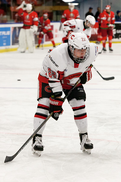 December 31, 2016 - Mac's Midget Tournament, Max Bell Centre, Calgary, Alberta - Male Division Semi-Final - Cariboo Cougars vs. Belarus National U17 - Cougars forward #22 Brandon Rowley during the pre-game skate.