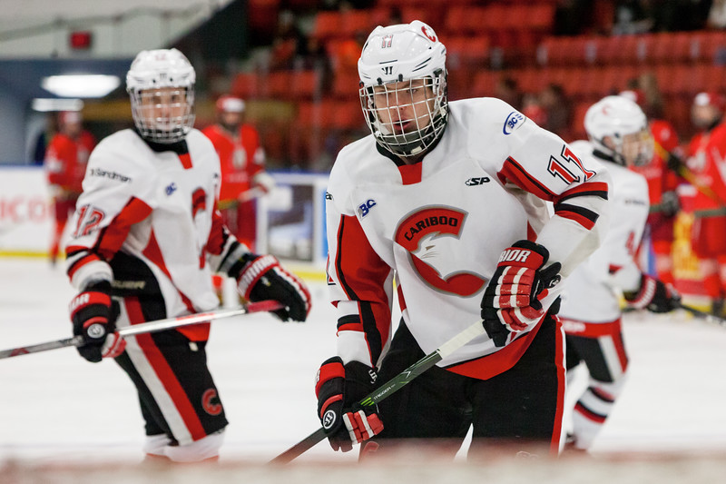 December 31, 2016 - Mac's Midget Tournament, Max Bell Centre, Calgary, Alberta - Male Division Semi-Final - Cariboo Cougars vs. Belarus National U17 - Cougars forward #11 Reid Perepeluk during the pre-game skate.