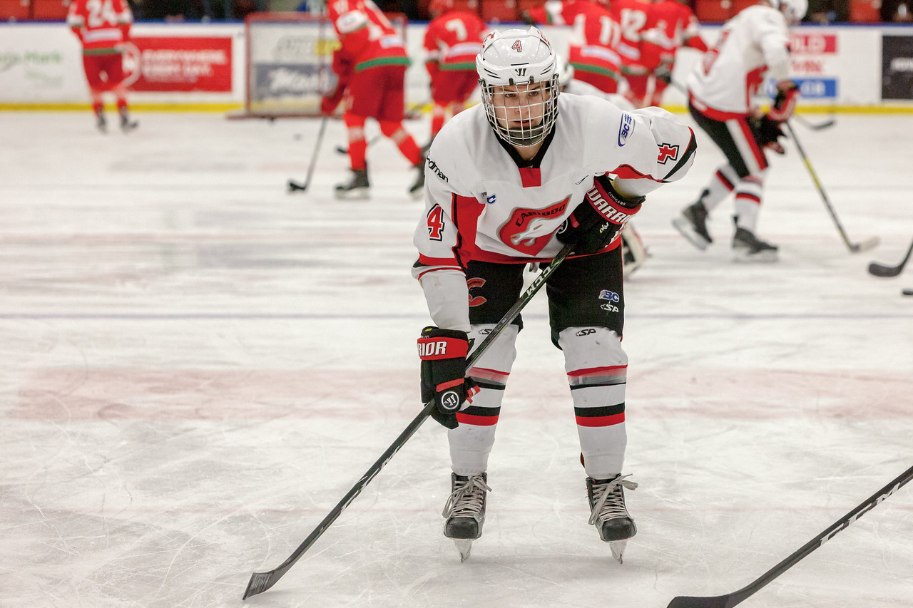 December 31, 2016 - Mac's Midget Tournament, Max Bell Centre, Calgary, Alberta - Male Division Semi-Final - Cariboo Cougars vs. Belarus National U17 - Cougars defender #4 Brennan Malgunas during the pre-game skate.