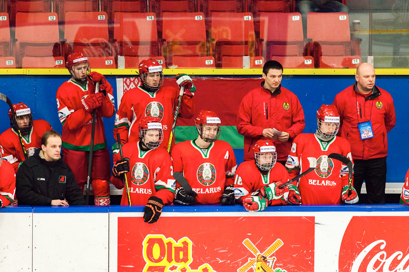 December 31, 2016 - Mac's Midget Tournament, Max Bell Centre, Calgary, Alberta - Male Division Semi-Final - Cariboo Cougars vs. Belarus National U17 - Belarus players bench.