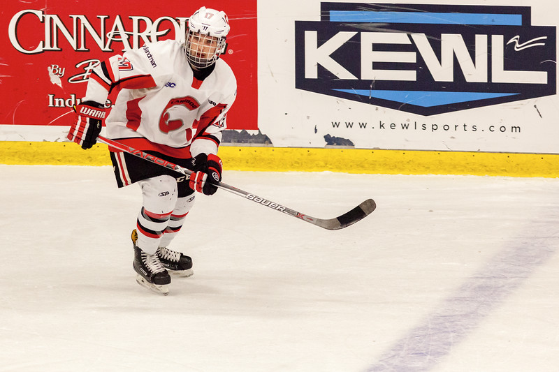 December 31, 2016 - Mac's Midget Tournament, Max Bell Centre, Calgary, Alberta - Male Division Semi-Final - Cariboo Cougars vs. Belarus National U17 - Cougars forward #17 Ty Kolle.
