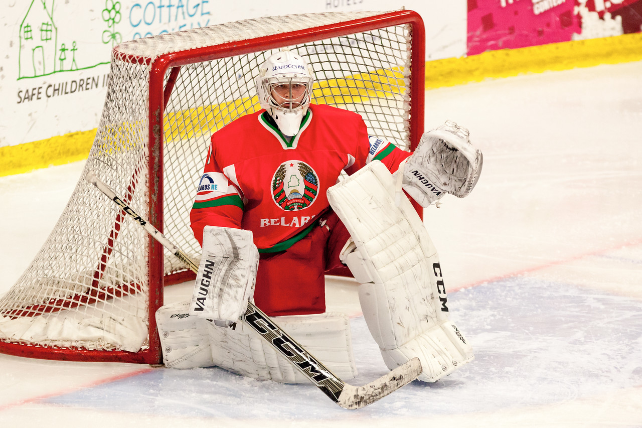 December 31, 2016 - Mac's Midget Tournament, Max Bell Centre, Calgary, Alberta - Male Division Semi-Final - Cariboo Cougars vs. Belarus National U17 - Belrus Goalie #1 ANDREI GRISHENKO.
