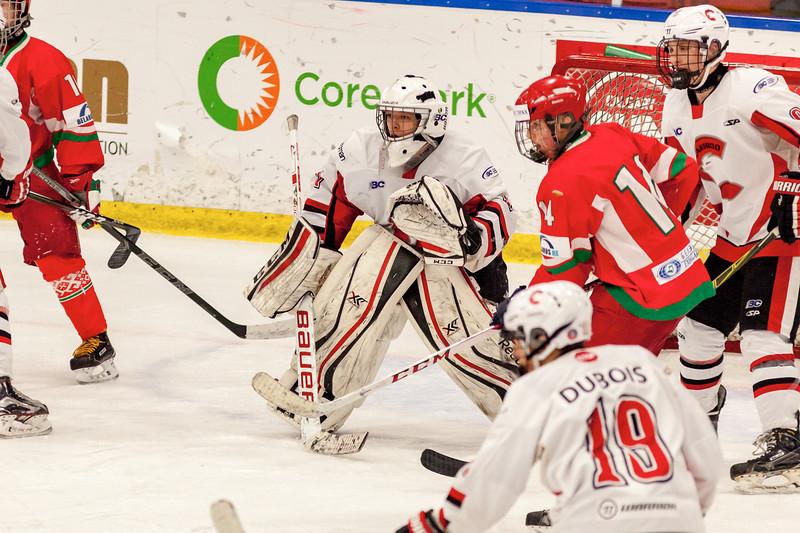 December 31, 2016 - Mac's Midget Tournament, Max Bell Centre, Calgary, Alberta - Male Division Semi-Final - Cariboo Cougars vs. Belarus National U17 - Cougars goalie #1.