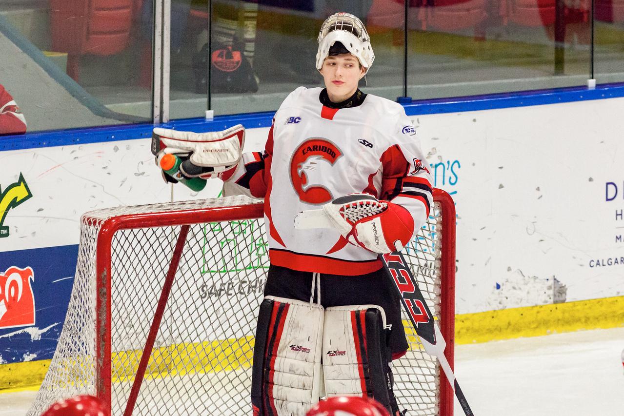 December 31, 2016 - Mac's Midget Tournament, Max Bell Centre, Calgary, Alberta - Male Division Semi-Final - Cariboo Cougars vs. Belarus National U17 - Cougars goalie #35 Zachary Wickson.