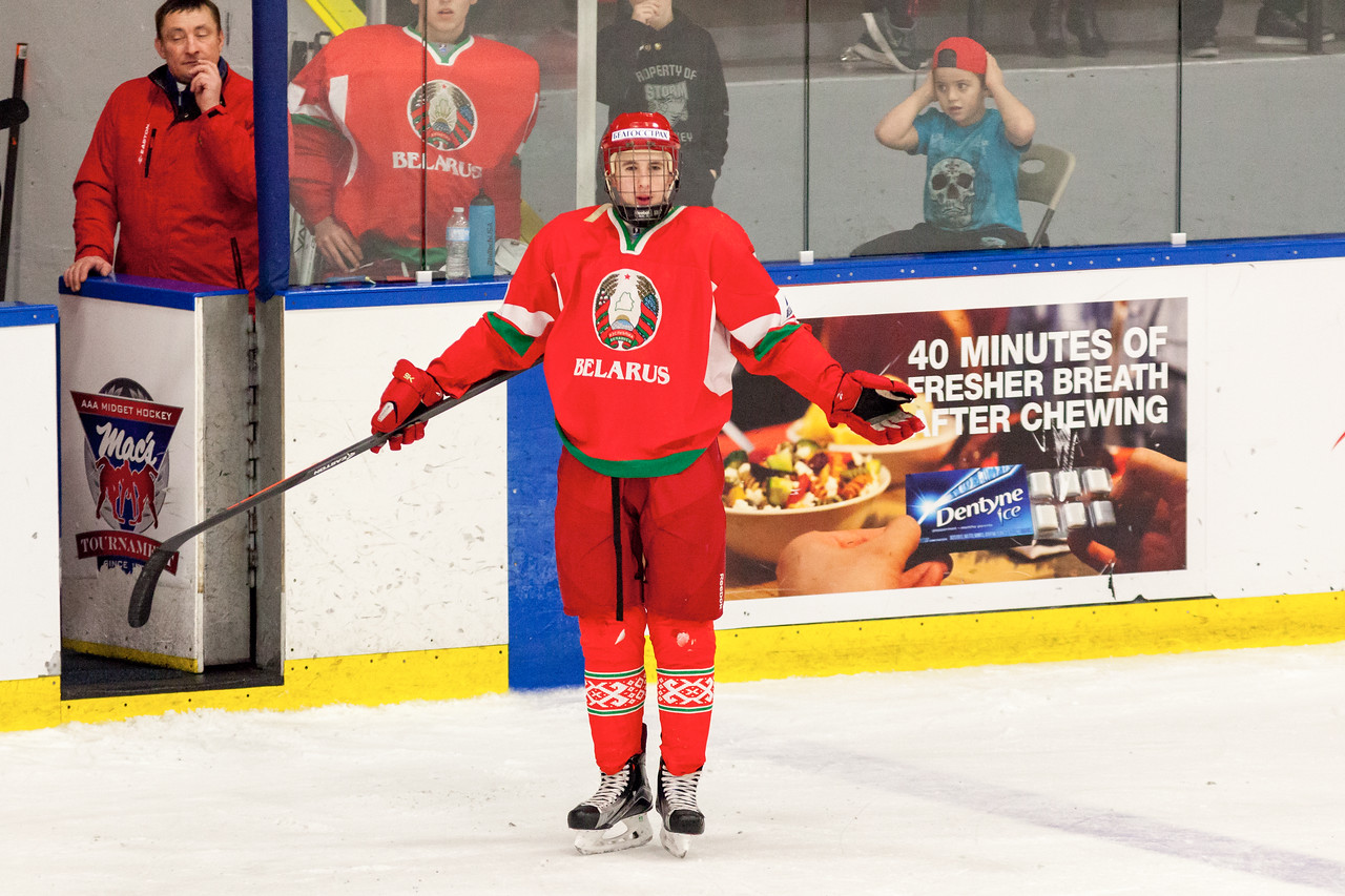 December 31, 2016 - Mac's Midget Tournament, Max Bell Centre, Calgary, Alberta - Male Division Semi-Final - Cariboo Cougars vs. Belarus National U17 - Belrus forward #9 SERGEI SAPEGO.