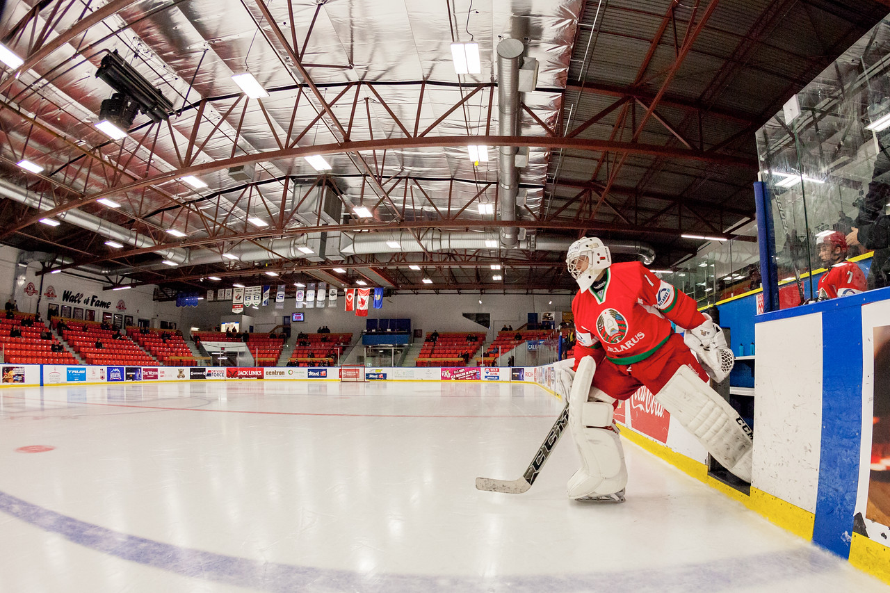 December 31, 2016 - Mac's Midget Tournament, Max Bell Centre, Calgary, Alberta - Male Division Semi-Final - Cariboo Cougars vs. Belarus National U17 - Belrus Goalie #1 ANDREI GRISHENKO takes to the ice for the pre-game skate.