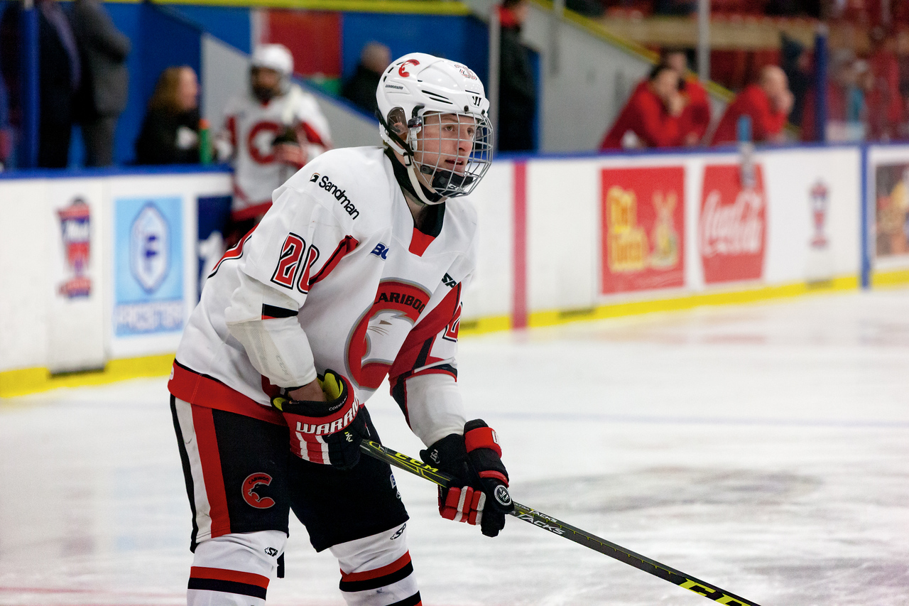 December 31, 2016 - Mac's Midget Tournament, Max Bell Centre, Calgary, Alberta - Male Division Semi-Final - Cariboo Cougars vs. Belarus National U17 - Cougars forward #20 Darian Long during the pre-game skate.