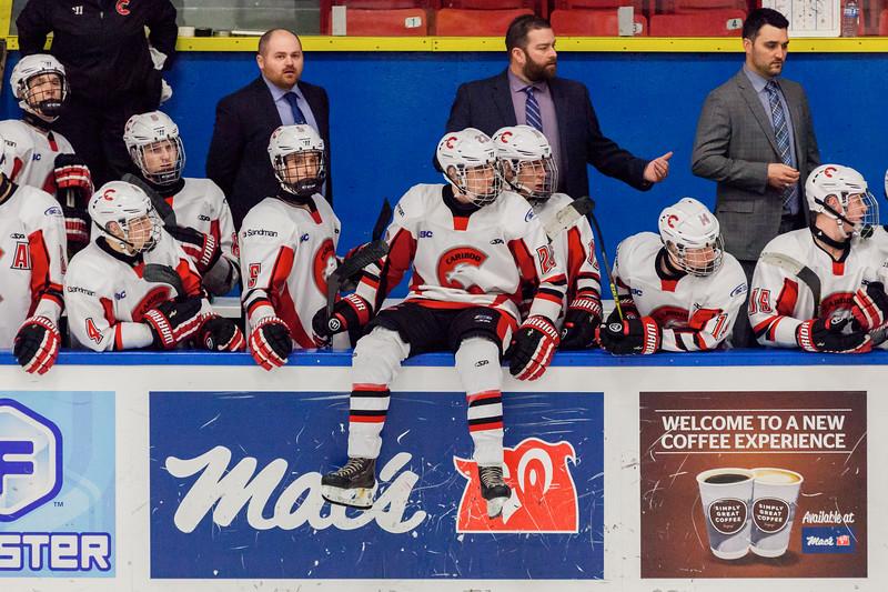 December 31, 2016 - Mac's Midget Tournament, Max Bell Centre, Calgary, Alberta - Male Division Semi-Final - Cariboo Cougars vs. Belarus National U17 - Cougars players bench.