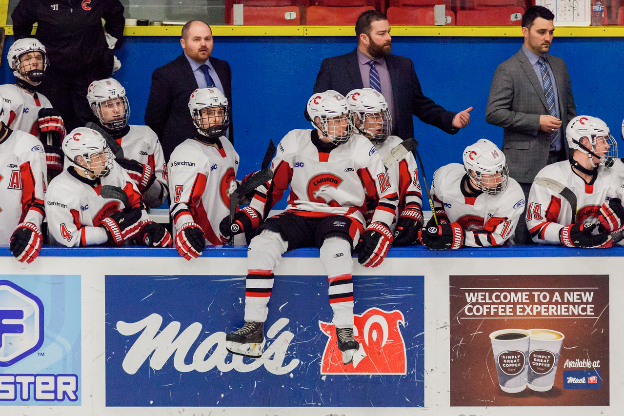 December 31, 2016 - Mac's Midget Tournament, Max Bell Centre, Calgary, Alberta - Male Division Semi-Final - Cariboo Cougars vs. Belarus National U17 - Cougars players bench.