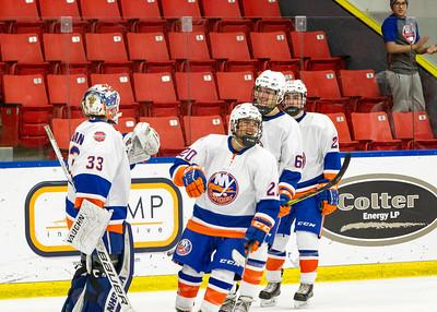 December 31, 2017 - Calgary, AB - 2017-2018 Mac's AAA Midget Hockey Tournament - Max Bell Centre Arenas. Male Division Quarter-Final Game - Calgary Buffaloes vs. New York Jr Islanders.