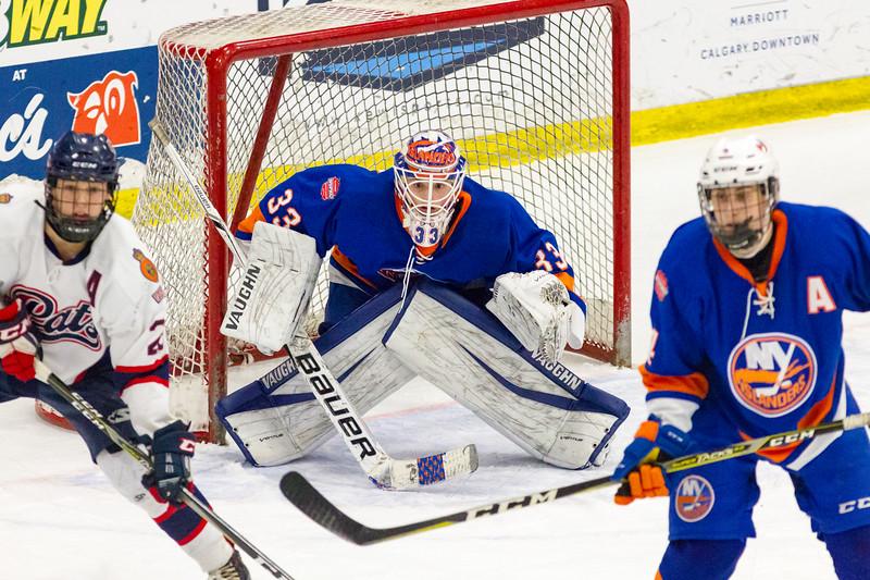 December 31, 2017 - Calgary, AB - 2017-2018 Mac's AAA Midget Hockey Tournament - Max Bell Centre Arenas. Male Division Semi-Final Game #2 - Regina Pat Canadians vs. New York Jr Islanders.
