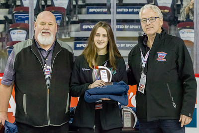 January 1, 2018 - Calgary, AB - 2017-2018 Mac's AAA Midget Hockey Tournament - Scotiabank Saddledome. Female Divison Award Winners.