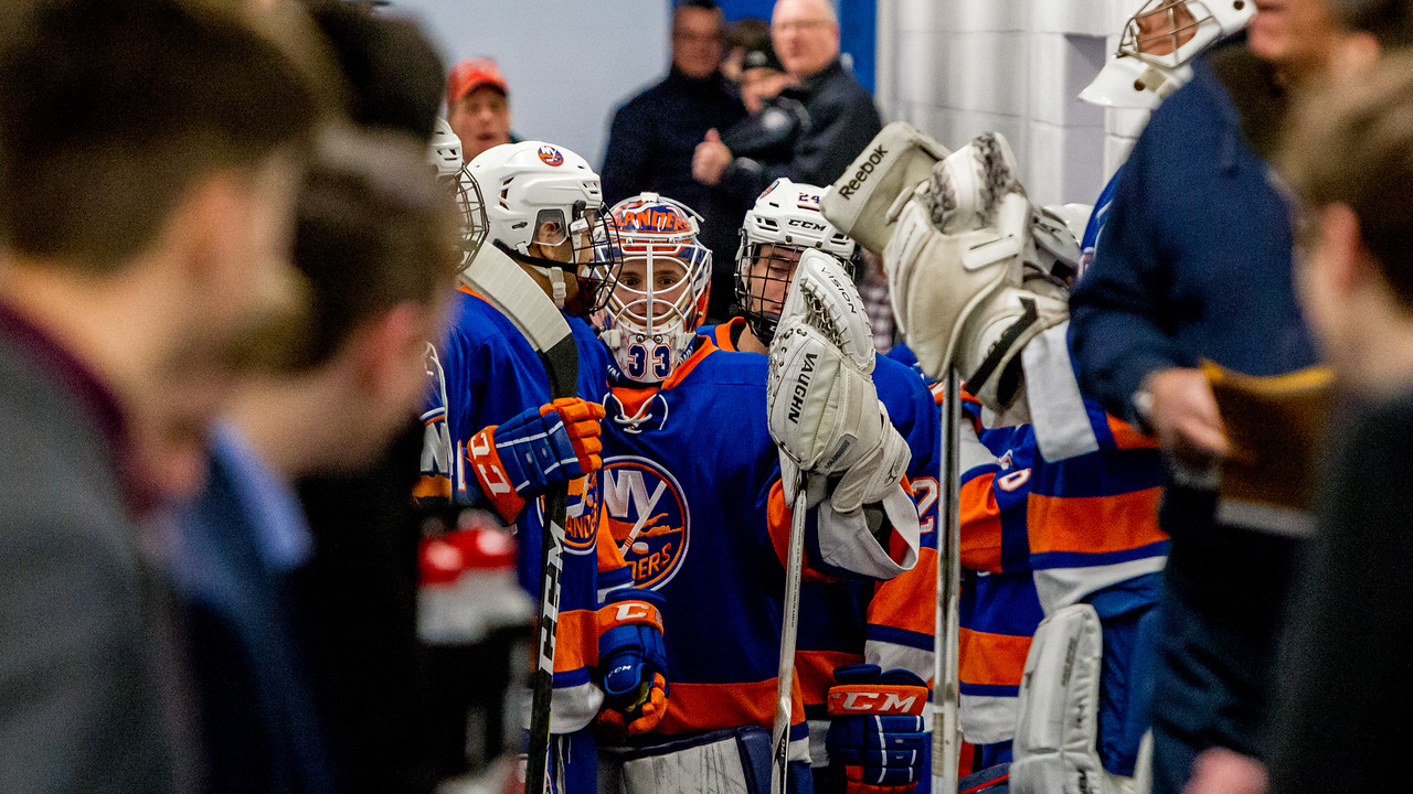 December 27, 2017 - Calgary, AB - 2017-2018 Mac's AAA Midget Hockey Tournament - Max Bell Centre Arenas. The New York Jr. Islanders before their game against the Okotoks Oilers.
