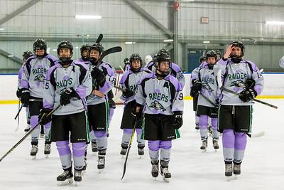 December 31, 2017 - Calgary, AB - 2017-2018 Mac's AAA Midget Hockey Tournament - Max Bell Centre Arenas. Female Division Semi-Final Game - Rocky Mountain Raiders vs. Delta Academy Prep.