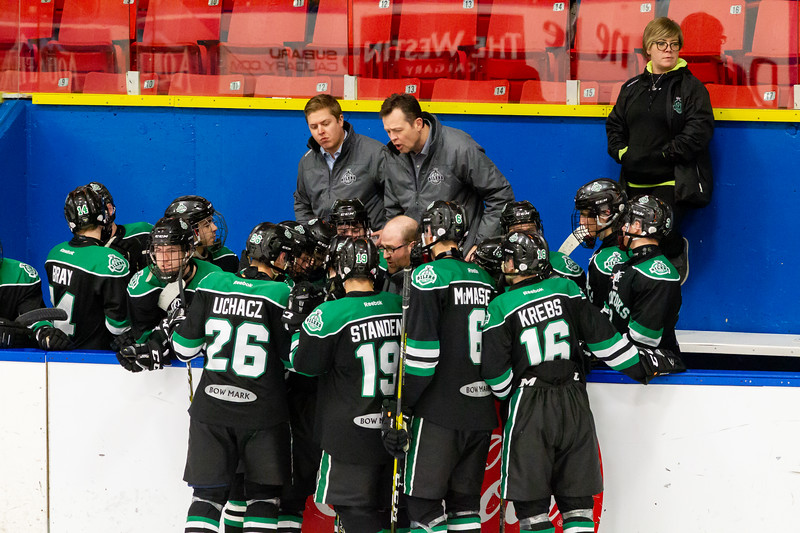 December 28, 2018 - Calgary, AB - Game 27 - Game action between the Okotoks Bow Mark Oilers and the St. Albert Nektar Data Systems Raiders.