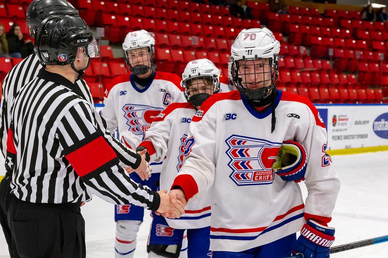 December 29, 2018 - Calgary, AB - Game 37 - St. Albert Nektar Data Systems Raiders and the Vancouver NE Chiefs.