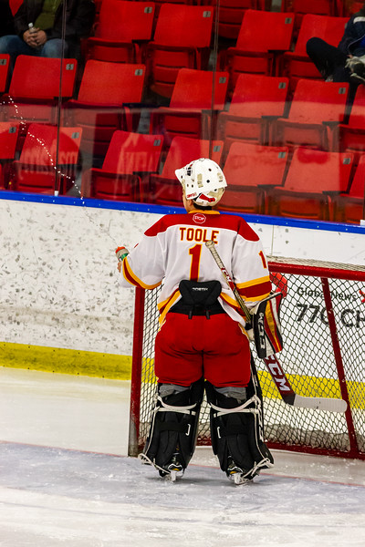 December 29, 2018 - Calgary, AB - Game 39 - Brampton 45s and the Calgary Flames. Brayden Morrison gets the puck past goaltender Noah Granata during the second period.