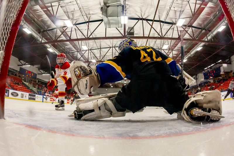 December 29, 2018 - Calgary, AB - Game 39 - Calgary Flame Brayden Morrison scores on 45s goaltender Noah Granata.