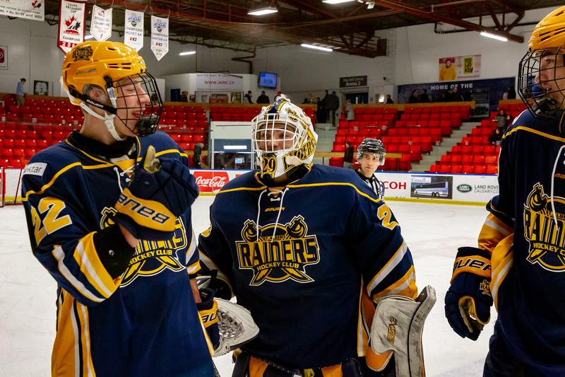 December 30, 2018 - Calgary, AB - Game 48 - St. Albert Nektar Data Systems Raiders and the Calgary Buffaloes.