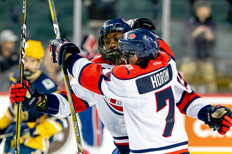 January 1, 2019 - Calgary, AB. The St.Albert Nektar Data Systems Raiders and the Lethbridge Hurricanes at the Mac's AAA Midget Hockey Tournament Male Division Championship final played at the Scotiabank Saddledome. The Hurricanes celebrate a first period goal.