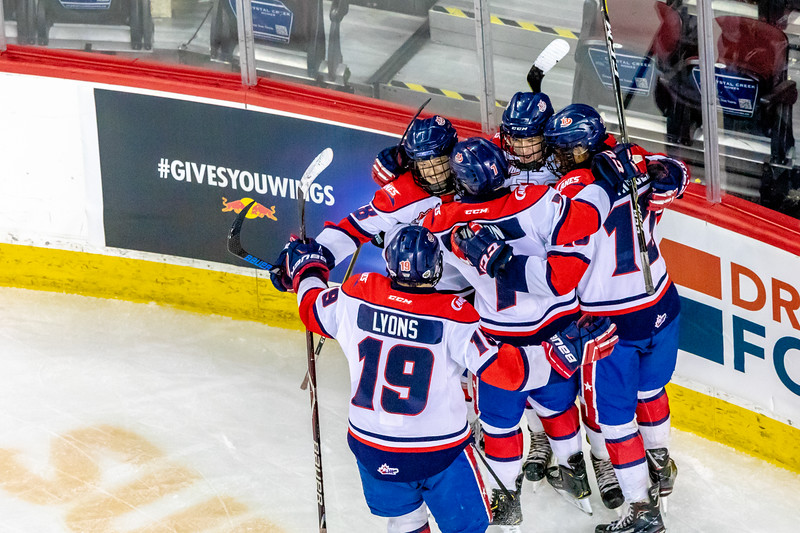 January 1, 2019 - Calgary, AB. The St.Albert Nektar Data Systems Raiders and the Lethbridge Hurricanes at the Mac's AAA Midget Hockey Tournament Male Division Championship final played at the Scotiabank Saddledome. The Hurricanes celebrate a second period goal.