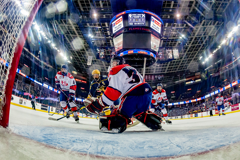 January 1, 2019 - Calgary, AB. The St.Albert Nektar Data Systems Raiders and the Lethbridge Hurricanes at the Mac's AAA Midget Hockey Tournament Male Division Championship final played at the Scotiabank Saddledome. Game winning goal play.