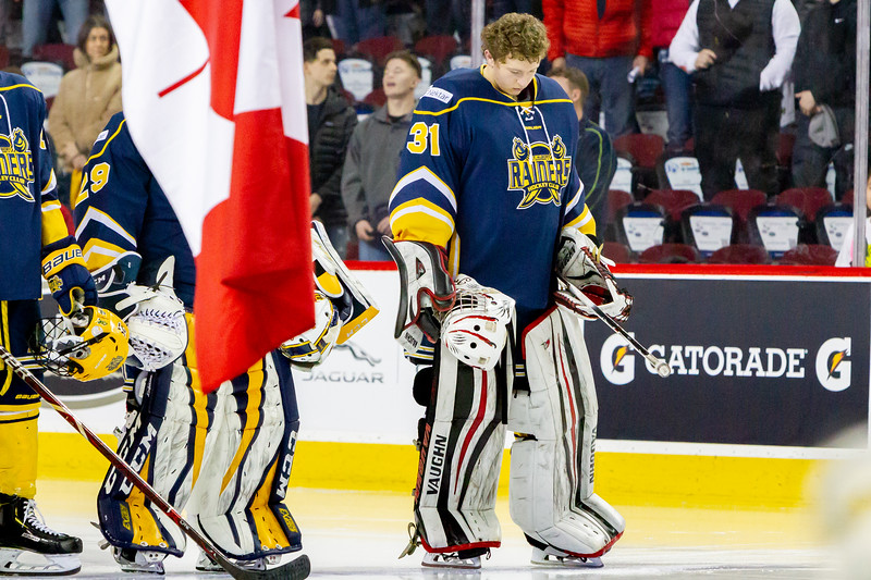 January 1, 2019 - Calgary, AB. The St.Albert Nektar Data Systems Raiders and the Lethbridge Hurricanes at the Mac's AAA Midget Hockey Tournament Male Division Championship final played at the Scotiabank Saddledome.