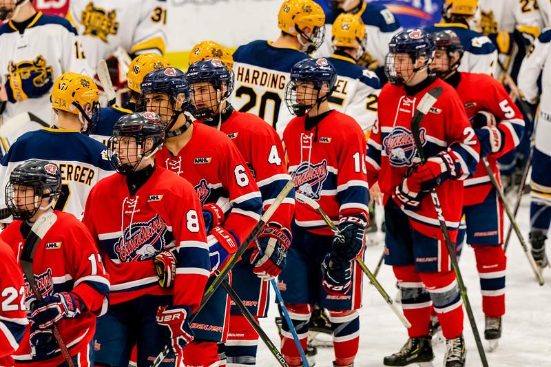 December 31, 2018 - Calgary, AB - Quarter Final / Game 53 - St. Albert Nektar Data Systems Raiders vs. the CAC Gregg Distributors at the Max Bell Centre.