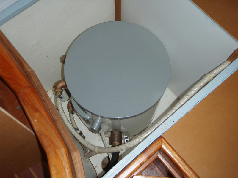 hot water tank under the settee aft