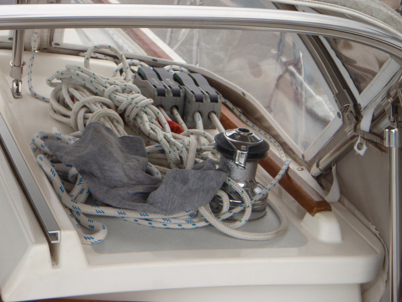 clutches and winch on the cabin top starboard side