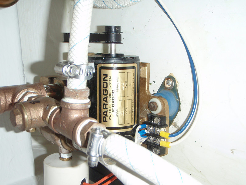 water pressure pump under the settee in the salon