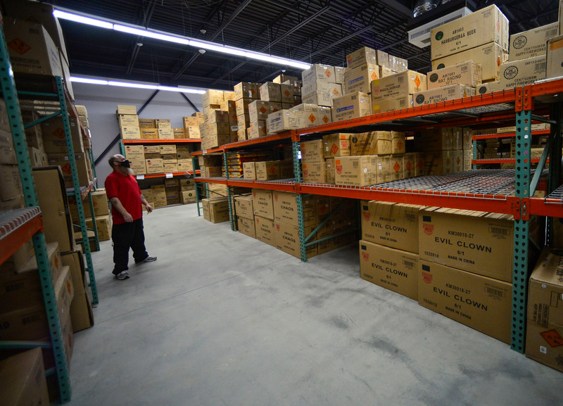 KRISTOPHER RADDER — BRATTLEBORO REFORMER<br /> Allen Miller, manager of Area 51 Fireworks, in Chesterfield, N.H., talks about how much less stuff they have in their warehouse on Thursday, June 25, 2020, compared to last year as people stock up on fireworks after many cities have canceled their Fourth of July fireworks shows.