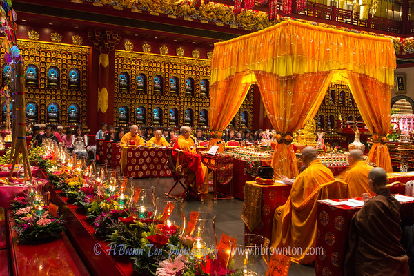 Meditating Monks at Buddha Tooth Relic Temple