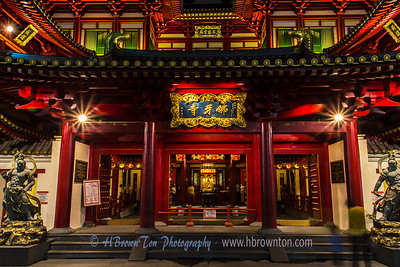 Calmness about the Buddha Tooth Relic Temple at night